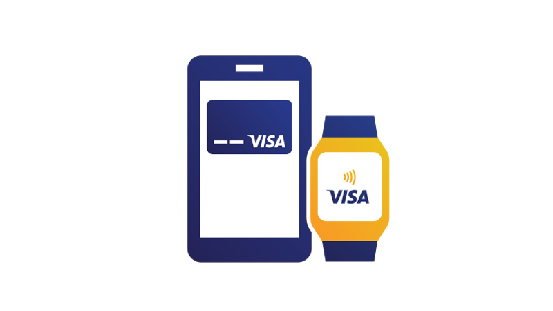 Illustration of a smart phone displaying a Visa credit card positioned next to a smart watch displaying the Visa Contactless symbol.